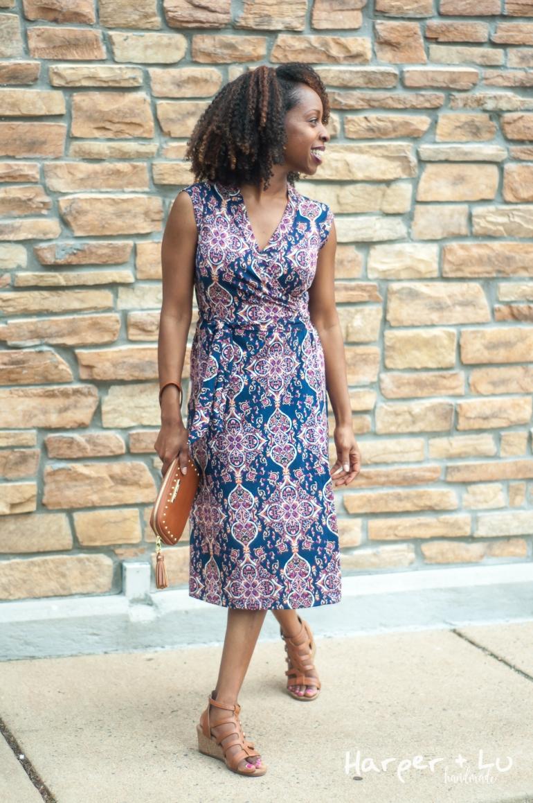 FB - Sleeveless Diana Wrap Dress - So Sew English Tami Navy Blush-1380