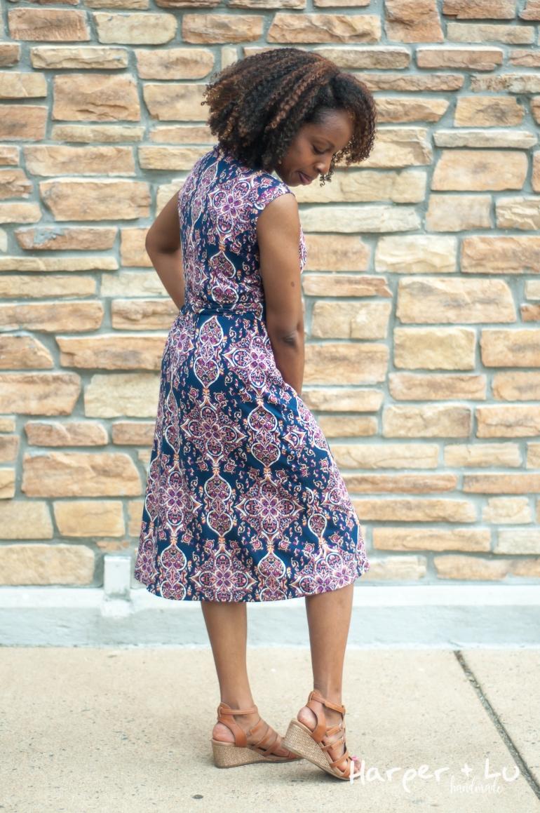 FB - Sleeveless Diana Wrap Dress - So Sew English Tami Navy Blush-1390