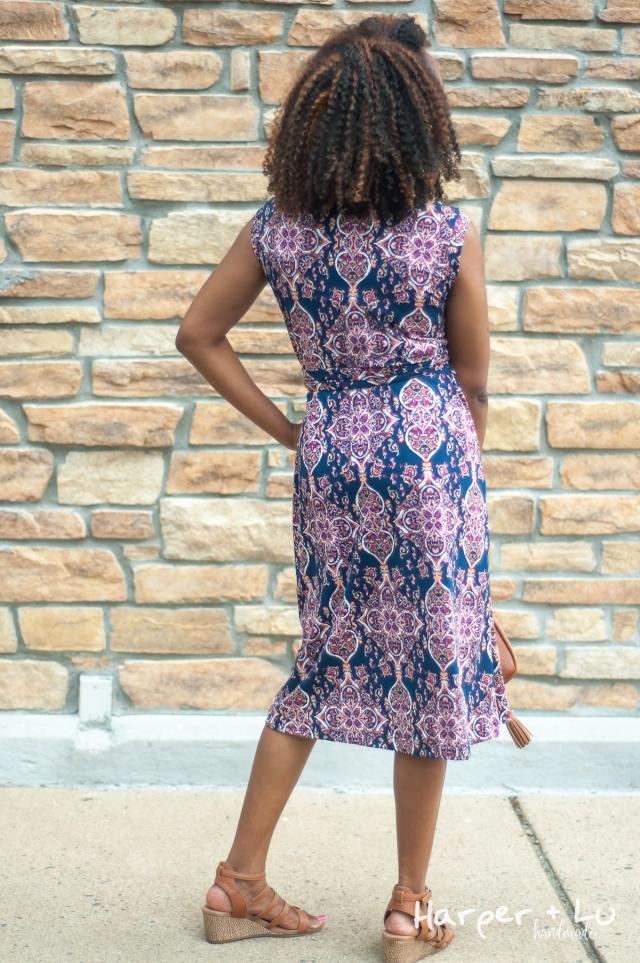 FB - Sleeveless Diana Wrap Dress - So Sew English Tami Navy Blush-1391