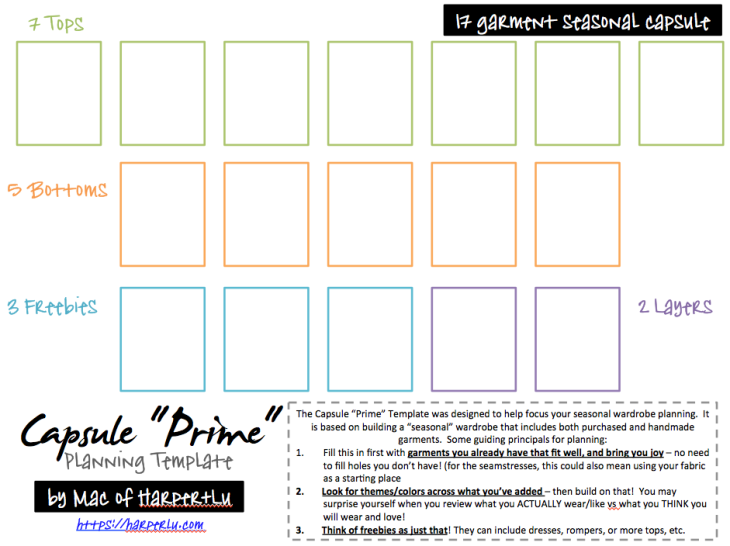 Capsule Prime Planning Template by Mac of Harper+Lu